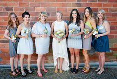 Free-Spirited Graffiti Artist Wedding: Kristen + Dusty  love the mismatched bridesmaids!