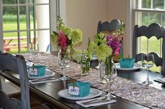 Bridal shower decor - tablescape, sequined table runners