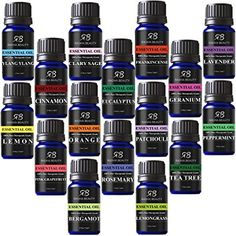 Radha Beauty Aromatherapy 16 Essential Oils Lavender, teatree, peppermint, lemongrass, orange, eucalyptus, rosemary, frankincense, bergamot, ylang, patchouli, geranium, grapefruit, cinnamon, sage. Secure check out thru Amazon. Can't wait for mine