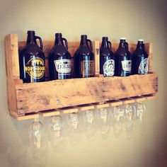 Distressed Growler Display Shelf with by ConeyIslandBuilders