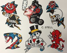 56 ideas tattoo old school sailor jerry art Modern Tattoos, Trendy Tattoos, New Tattoos, Weird Tattoos, Geometric Tattoos, American Traditional Sleeve, Traditional Flash, Traditional Styles, Traditional Tattoo Old School