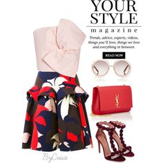 A fashion look from July 2016 featuring Delpozo tops, Delpozo skirts and Yves Saint Laurent shoulder bags. Browse and shop related looks.