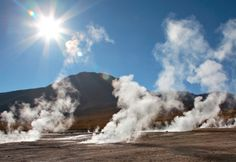 Geyser field El Tatio in back lighting, Chile. Geyser field El Tatio in back lig , Top 10 Tourist Destinations, Iglesia San Francisco, Visit Chile, Geothermal Energy, Travel Icon, What The World, Ultimate Travel, Where To Go, South America