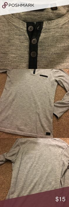 Long sleeve gray Outpost Henley Gray with black detailing. Long sleeve Henley tee Outpost Shirts Tees - Long Sleeve