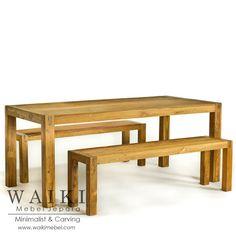 Meja makan minimalis American Park 1 meja panjang dan 2 bangku panjang. Produsen bangku meja makan american park minimalis kualitas ekspor Jepara.