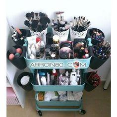 Turn an IKEA Raskog utility cart into a vanity on wheels! It could g… Turn an IKEA Raskog utility cart into a vanity on wheels! It could go anywhere since it's on wheels. Ikea Raskog, Raskog Cart, Makeup Cart, Hanging Makeup Organizer, Rangement Makeup, Cool Dorm Rooms, Make Up Storage, Makeup Rooms, Beauty Room