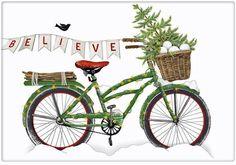 Christmas Believe Bike Bicycle 100% Cotton Flour Sack Dish Towel Tea Towel