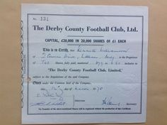 The Derby County Football Club Limited   £1 Share certificate 1970   The club was founded in 1884 and they are one of the 12 founder members of the Football League in 1888. The club competitive peak came in the 1970s when they were twice English champion and reached the European Cup semi-finals. The rams play today in the Championship (2nd tier of English football pyramid)