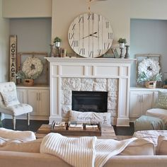 Posting another picture of our #livingroom  for #LMBloves ! I love our #fireplace (of course I wish it was subway instead of stone but, what can Ya do?!). I'm so ready for some chilly weather so I can turn it on!! PS there's no more black box on top of the fireplace. I took her down in hopes the hubs would build me the TV cover he's been promising me . #home #homedecor #cottagestyle #cottage #interior