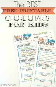 The best free printable chore chart for kids from gogrowgo.com