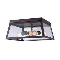 Plafonnier bronze avec panneaux de verre clair de style vintage, ouvert en dessous.
