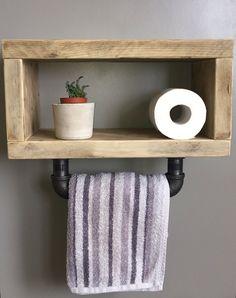 Scaffold Board Shelf with Hand Towel Rail Farmhouse Towel Bars, Small Toilet Room, Scaffold Boards, Rustic Bathrooms, Scaffolding, Shelf Design, Towel Rail, Bathroom Shelves, Upcycled Furniture