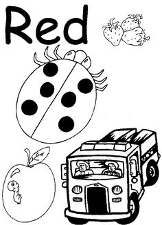 red coloring pages for preschool | Lesson- Red coloring page. Spelling Red. Red tracer page. Coloring a ...