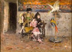 """Giovanni Boldini, """"Coppia in abito spagnolo con due pappagalli (El Matador) - Olio su tela, Collezioni d'Arte di Banca Carige, Genova -"""