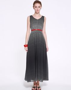 Classic V-Neck Polka Dot Maxi Dress With Belt I found this beautiful item on VIPme.com.Check it out!