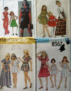 Vintage 1970's lot of 4 sewing patterns children girl sizes 7 & 8