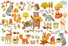 Find Fall Theme Set Forest Animals Hand stock images in HD and millions of other royalty-free stock photos, illustrations and vectors in the Shutterstock collection. Autumn Animals, Forest Animals, Woodland Animals, Cute Animal Illustration, Autumn Illustration, Autumn Forest, Graphic Design Trends, Baby Prints, Autumn Theme