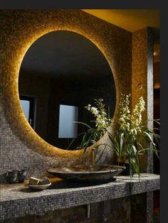 Indirect lighting - ideas lighting environment for indoors - Badezimmer - Bathroom Decor Bathroom Mirror Design, Bathroom Sets, Bathroom Interior, Bathroom Lighting, Bathroom Mirrors, Small Bathroom, Framed Mirrors, Remodel Bathroom, Oval Mirror