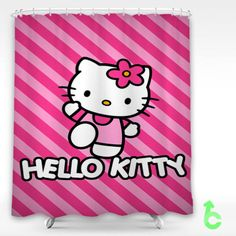 hello kitty pinkstrip Shower Curtain