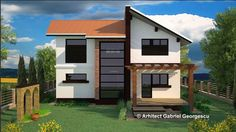 Proiecte de case cu etaj si terasa acoperita Two story house plans with covered patios 5 Two Story House Plans, My House Plans, Two Story Homes, Back Garden Design, Second Story, Back Gardens, Covered Patios, Shed, Outdoor Structures