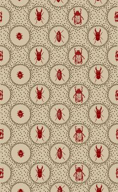 morphene-gimlet: Wow! New wallpaper for the kids' room! Beetle Pattern by Holly Trill