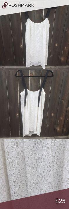"""ZARA WHITE LACE DRESS SZ M ZARA TRAFALUC WHITE LACE DRESS SZ M- with slip black ribbons as straps- front length 28"""" armpit to armpit 16.5"""" Zara Dresses Mini"""
