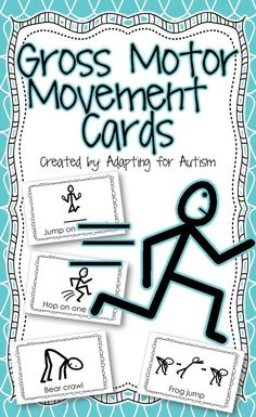 Special education students need lots of movement breaks during the school day. The gross motor movement activity cards are perfect for brain breaks, sensory breaks and adapted PE! Pe Activities, Motor Skills Activities, Movement Activities, Gross Motor Skills, Physical Activities, Adapted Physical Education, Special Education, Music Education, Pediatric Physical Therapy