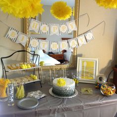 Grey and yellow dessert table
