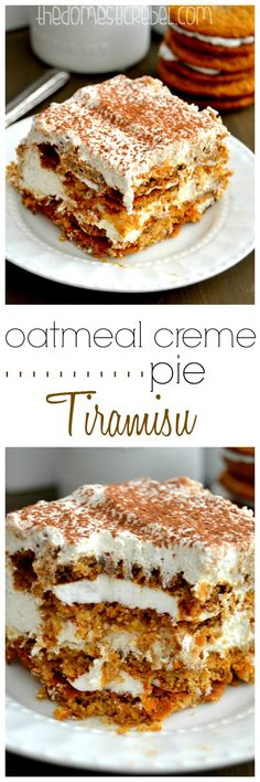 This Oatmeal Creme Pie Tiramisu is super delicious and unique! Made with chewy oatmeal creme pies, it's sweet, cinnamon-y and totally easy!