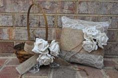 Burlap and Lace Ring Bearer Pillow & Flower Girl Basket Set - Rustic Burlap Ring Bearer Pillow - Burlap Flower Girl Basket. $54.00, via Etsy. @Lindsay Dillon Dillon Dillon Irwin