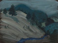Milton Avery (American, 1885-1965),Hills and Brook. Gouache on black paper, 45.7 x 60.3 cm.
