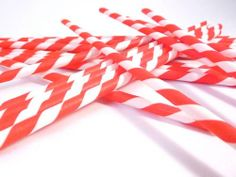 Paper Straws- Red and White