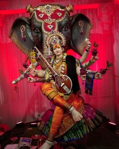 Chandika is an avatar of Durga. The three principle forms of Durga worshipped are Mahagauri, Chandika and Aparajita. Of these, Chandika has two forms called Chandi and Chamunda who is created by the goddess Kaushiki for killing demons Chanda and Munda. Durga Maa Paintings, Durga Painting, Lord Ganesha Paintings, Lord Shiva Painting, Lord Durga, Durga Ji, Saraswati Goddess, Durga Images, Ganesh Images