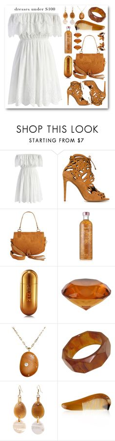 """""""White dress"""" by mamzelle-f ❤ liked on Polyvore featuring Chicwish, Tabitha Simmons, See by Chloé, Fresh, Carolina Herrera, CVC Stones and under100"""