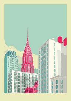 Remko Heemskerk :: Colorful New York City Illustrations - Chrysler building New York Illustration, Building Illustration, Illustration Example, Simple Illustration, Chrysler Building, Art Pop, City Poster, New York City, Ville New York