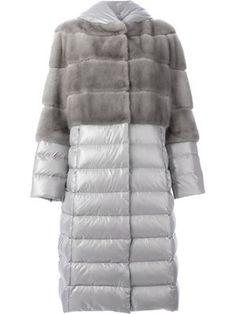 mink fur panel padded coat