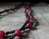 red berries..minimalist crochet beaded necklace double strand natural  red jade dark green cotton long forest fruits boho charming delicate
