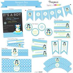 penguin baby shower ideas  carnation centerpieces  mama j's, Baby shower invitation