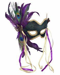 Venetian Green Velvet Feathered Mardi Gras Mask Adult