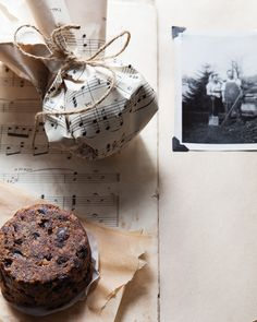 Mini Christmas Puddings in Vintage Music Paper - http://www.sweetpaulmag.com/food/mini-christmas-puddings-in-vintage-music-paper #sweetpaul