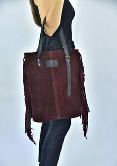 Leather Bag, Fringe leather bag, Burgundy suede Bag, Hobo Bag, Large shoulder Bag, Tassel Bag, Everyday Tote, Bohemian Bag, Handmade Suede Tote Bag, Tote Bags, Leather Bag, Large Shoulder Bags, Bridal Shoes, Hobo Bag, Black Suede, Me Too Shoes, Burgundy