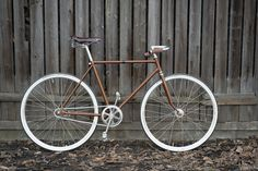 ReCycled old bike (probably from Germany) / original vintage parts in combination with brand new ones / czech leather saddle and handlebar grips / schwalbe tires