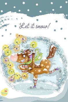 Let it snow. Let It Snow, Let It Be, Art And Illustration, Snow Globes, Decor, Illustration Children, Snow Flakes, Decoration, Decorating