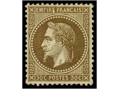 FRANCIA. Yv.30. 1863. 30 cts. castaño. Color y centraje excepcional. PIEZA DE LUJO. Yvert.1.000€.  Dealer SOLER Y LLACH  Auction Starting Pr...