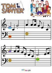Tom Sawyer : Partition du générique, paroles et comédie musicale | MÉLOPIE Kalimba, Harry Potter Theme, Toms, Activities, Math, Cards, Sheet Music, Tablature, Free Sheet Music
