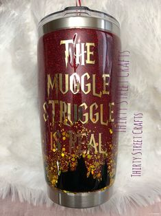 Harry Potter Muggle Struggle custom tumbler, DIY and Crafts, Excited to share this item from my shop: Harry Potter Muggle Struggle custom tumbler. Vinyl Tumblers, Custom Tumblers, Tumblr Cup, Epoxy, Glitter Cups, Glitter Tumblers, Images Harry Potter, Harry Potter Gifts, Cup Crafts