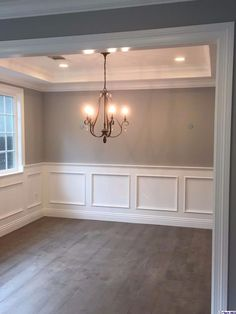 light grey walls with white wainscoting Dining Room Wainscoting, Dining Room Walls, Dining Room Design, Wainscoting Wall, Waynes Coating Dining Room, Diy Waynes Coating, Wanes Coating, Home Renovation, Home Remodeling