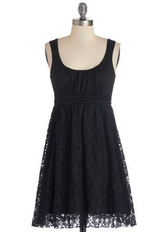 Artisan Iced Tea Dress in Black - Knit, Woven, Short, Black, Solid, Casual, A-line, Tank top (2 thick straps), Good, Scoop, Lace, Variation