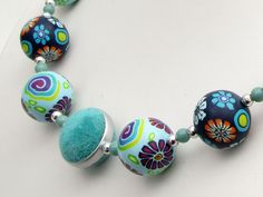 necklace, sale, fimo, arcilla, Meine Insel  Polymer Clay und Samt Design Kette  von filigran-Design   auf DaWanda.com
