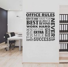 "Self-adhesive Vinyl Wall Lettering Office Rules Collage Available in TWO sizes: 22"" wide x 22"" high 40"" wide x 40"" high *Please note this size will come in two pieces - see second picture to see the l"